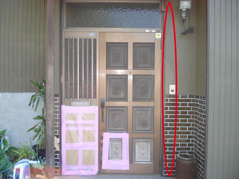 玄関の壁を壊す箇所